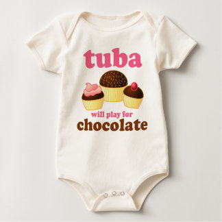 Tuba Music Play For Chocolate Quote Baby Bodysuit