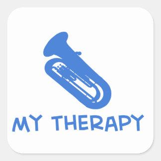 Tuba my therapy designs square sticker