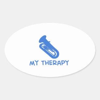 Tuba my therapy designs oval sticker