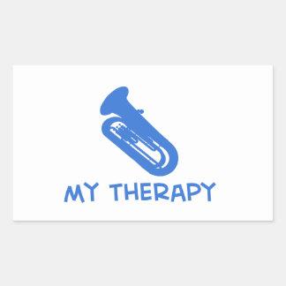 Tuba my therapy designs rectangular sticker