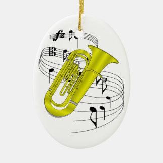Tuba Double-Sided Oval Ceramic Christmas Ornament