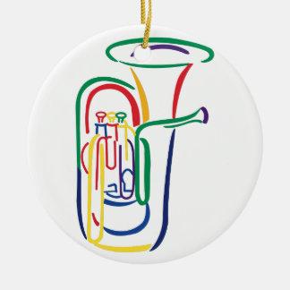Tuba Outline Ceramic Ornament