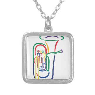 Tuba Outline Silver Plated Necklace