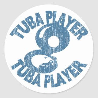 Tuba Player Classic Round Sticker