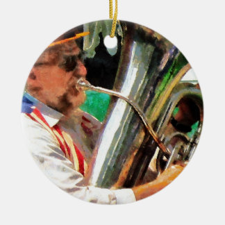 Tuba Player Double-Sided Ceramic Round Christmas Ornament