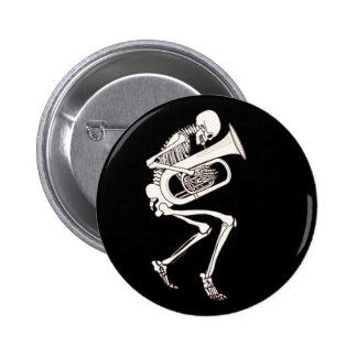 Tuba Playing Skeleton Pinback Button