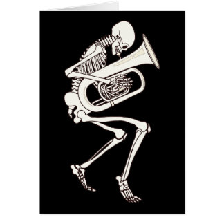 Tuba Playing Skeleton Card
