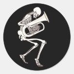 Tuba Playing Skeleton Classic Round Sticker
