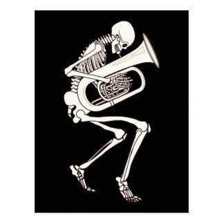 Tuba Playing Skeleton Postcard