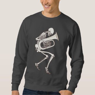 Tuba Playing Skeleton Sweatshirt