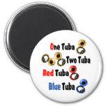 Tuba roja del azul de la tuba imán redondo 5 cm