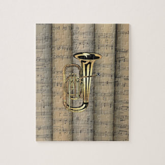 Tuba ~ Rolled Sheet Music Background ~ Musical Jigsaw Puzzle