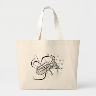 Tuba Silver and Notes Large Tote Bag