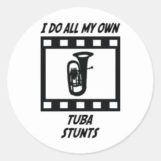 Tuba Stunts Classic Round Sticker