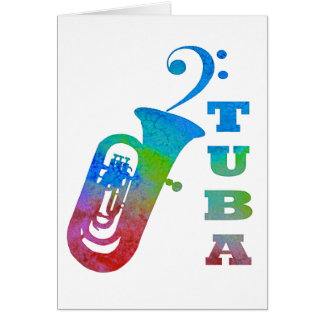 Tuba with Bass Clef Card