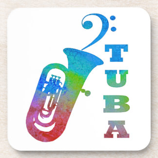 Tuba with Bass Clef Drink Coaster