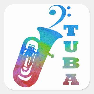 Tuba with Bass Clef Sticker