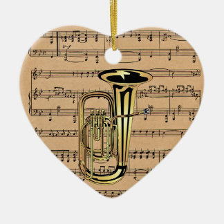 Tuba ~ With Sheet Music Background Double-Sided Heart Ceramic Christmas Ornament