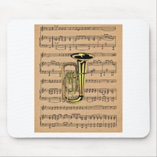 Tuba ~ With Sheet Music Background Mouse Pad