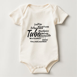 Tuba Word Cloud Black Text Baby Bodysuit