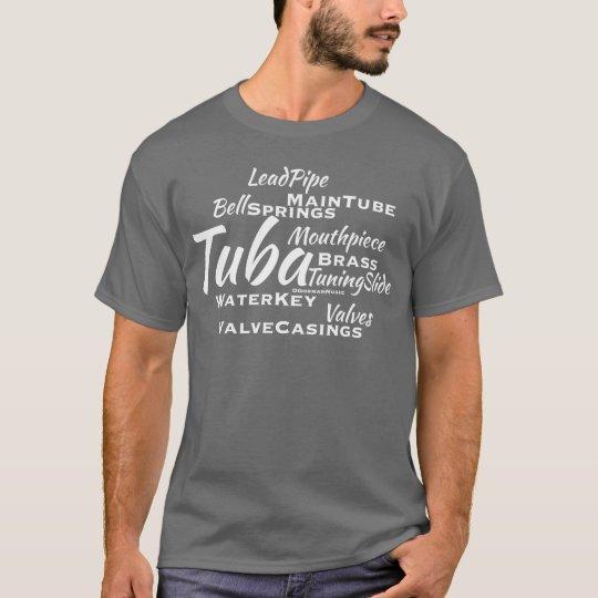 Tuba Word Cloud White Text T-Shirt