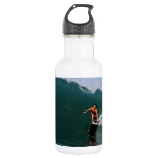 Tube riding green surfing waves 18oz water bottle