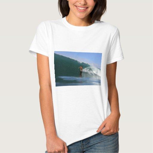 Tube riding green surfing waves tshirt