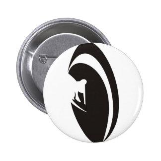 Tube Surfer Black Pinback Buttons