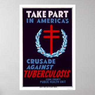 Tuberculosis de la lucha WPA 1940 Póster