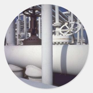 Tubería de la refinería de petróleo pegatina redonda