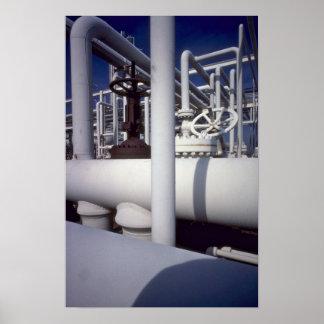 Tubería de la refinería de petróleo póster