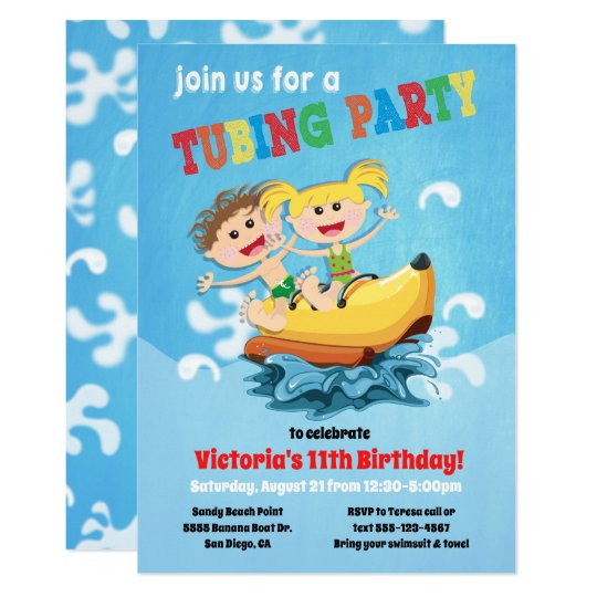 tubing banana boat birthday party invitations zazzle com