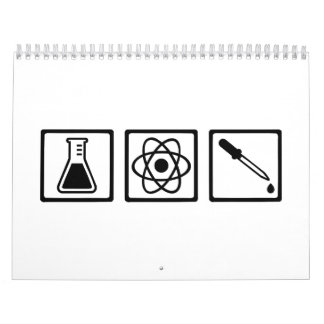 Tubo de ensayo del átomo de la química calendario