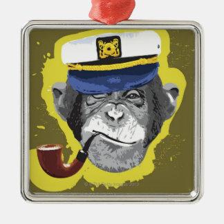 Tubo que fuma del chimpancé adorno navideño cuadrado de metal