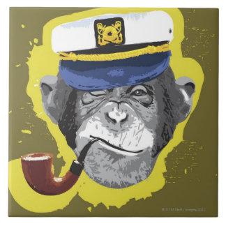 Tubo que fuma del chimpancé azulejo cuadrado grande