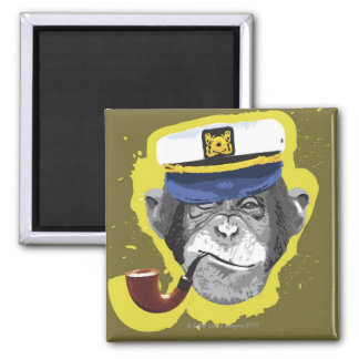 Tubo que fuma del chimpancé imán cuadrado