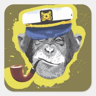 Tubo que fuma del chimpancé pegatina cuadrada
