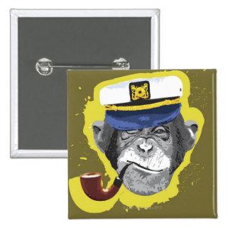 Tubo que fuma del chimpancé pin cuadrado