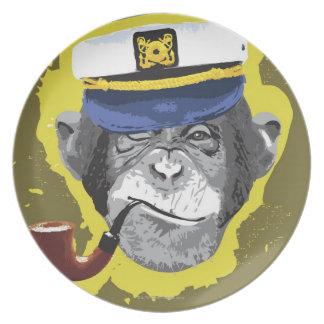 Tubo que fuma del chimpancé plato de cena