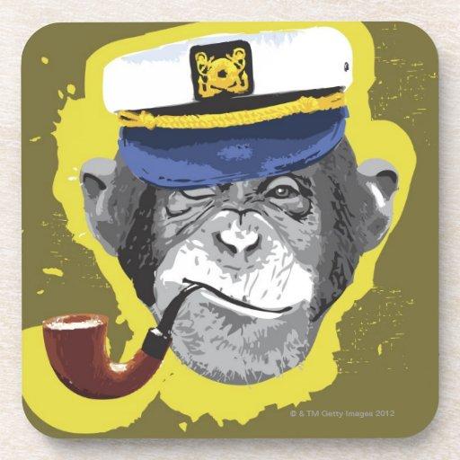 Tubo que fuma del chimpancé posavasos de bebidas
