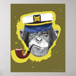 Tubo que fuma del chimpancé póster