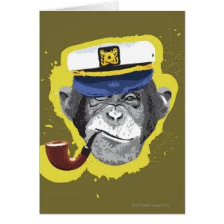 Tubo que fuma del chimpancé tarjeta de felicitación