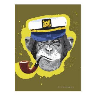 Tubo que fuma del chimpancé tarjeta postal