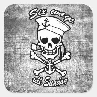 Tubo que fuma del cráneo del marinero del dibujo pegatina cuadradas personalizadas