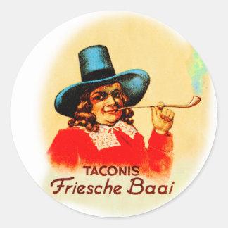 Tubo que fuma holandés Friesche Baai del tabaco Pegatina Redonda