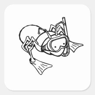 Tubo respirador que lleva de la hormiga colcomanias cuadradass