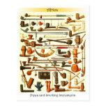 Tubos africanos e instrumentos que fuman tarjeta postal
