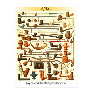 Tubos africanos e instrumentos que fuman postales