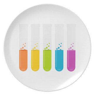 Tubos de ensayo de la ciencia de la química platos de comidas