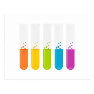 Tubos de ensayo de la ciencia de la química postales